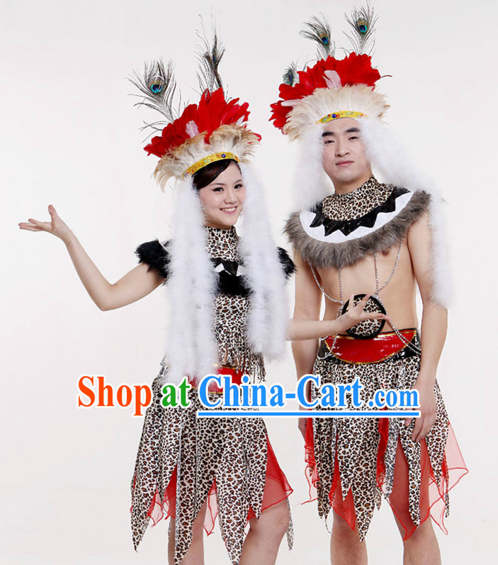 Stage Performance Primitive Tribe Costumes for 2 People