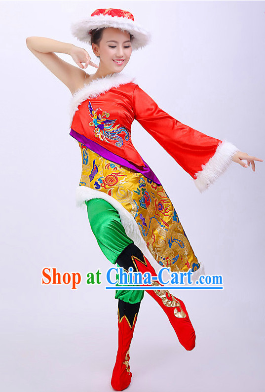 Chinese Mongolian Dress and Hat for Women