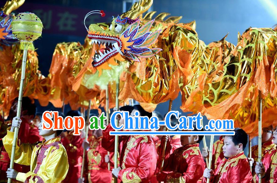 Gold Chinese Dragon Costume Complete Set for Eight Primary School Children