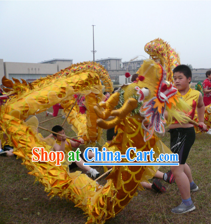 Gold Chinese Customs Dragon Costume for 6 Children