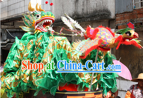 Handmade Green Chinese New Year Dragon Mascot Costumes Complete Set
