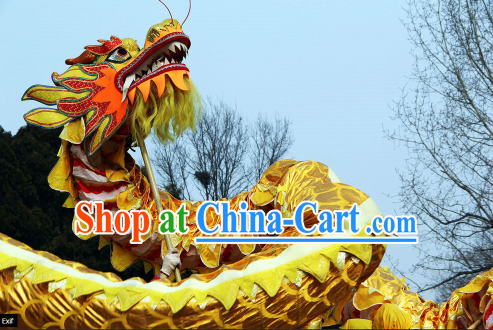 10 Meters Brand New Gold Chinese Dragon Dance Costume Complete Set