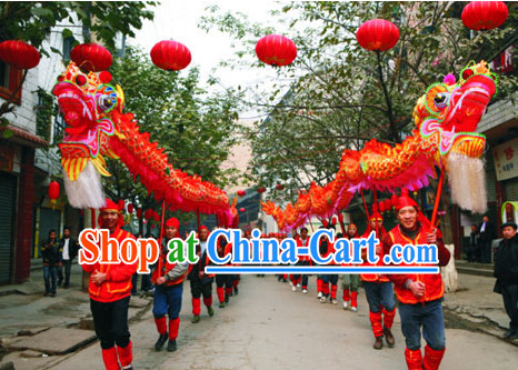 Chongqing Province Red Dragon Dancing Equipments Complete Set