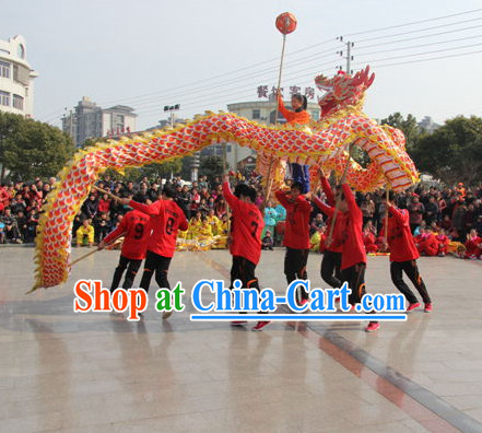NEW Red Classical Dragon Dance Equipments Complete Set