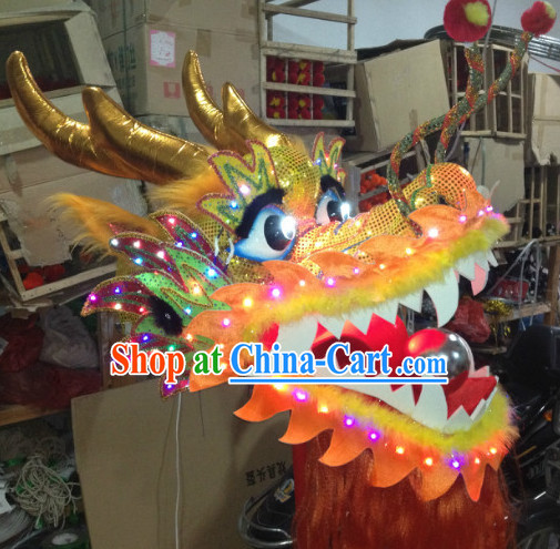 LED Lights Dragon Head Props for Celebration and Competition