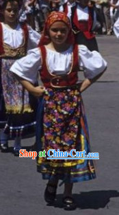 Traditional Greek Clothing and Hat Complete Set for Kids