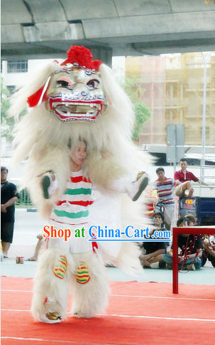 White Long Yak Fur Lion Costume Complete Set