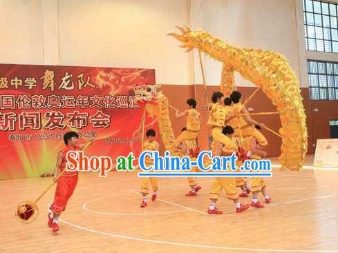 Lightweight Shinning Gold Handmade Dragon Dance Equipment Complete Set for Middle School Teenagers
