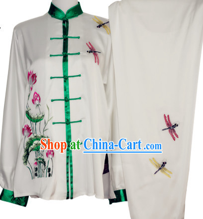 Traditional Tai Chi Chuan Embroidery Dragonfly and Lotus Silk Outfit