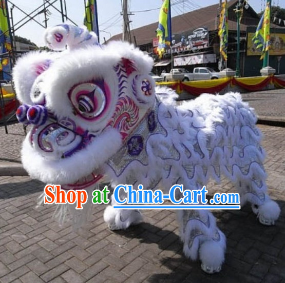 White Wool Lion Mascot Costume Complete Set
