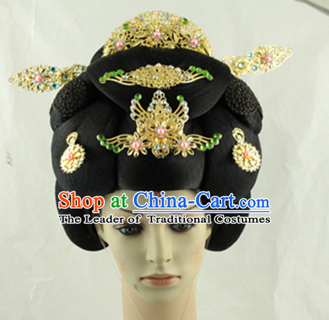 Ancient Chinese Empress Black Wigs and Headpieces