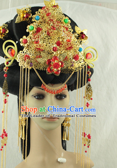 Ancient Chinese Lady Wedding Headpieces Hat and Black Long Wigs