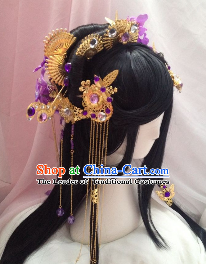 Chinese Cosplay Long Black Wigs Hair Accessories Fairy Legend Queen Princess Emperor
