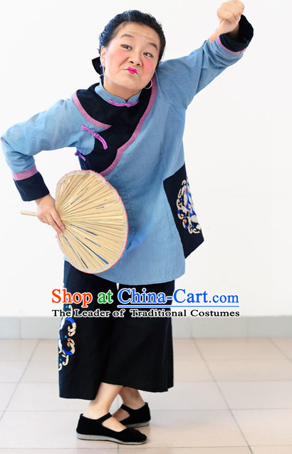 Chinese Folk Grandmother Old Nanny Dance Costumes and Wigs
