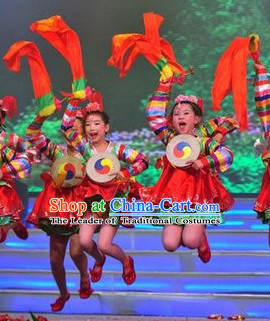 Chinese Drum Dance Costumes and Hairpieces for Kdis