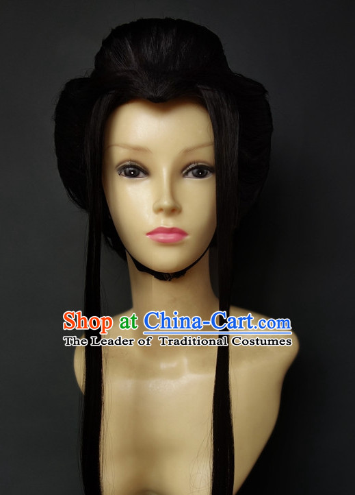 Japanese Halloween Costumes Long Black Wigs