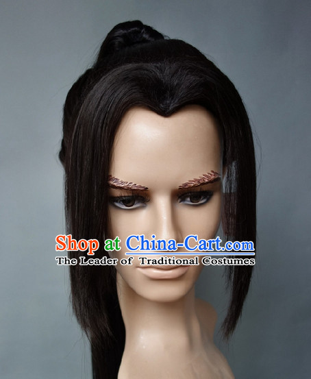 Chinese Halloween Costumes Long Black Male Wigs