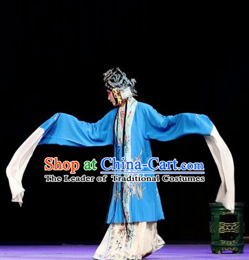 Chinese Opera Peking Opera Cantonese Opera Ancient Chinese Hua Dan Long Sleeves Costumes and Headwear Complete Set