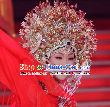 Ancient Chinese Opera Golden Phoenix Crown Helmet
