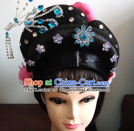 Handmade Chinese Huangmei Opera Hairstyles Fascinators Fascinator Wholesale Jewelry Hair Pieces and Wigs