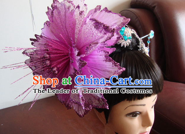 Chinese Professional Stage Theatrical Performances Li Yugang Ancient Chinese Beauty Black Long Wigs and Hair Jewelry Set