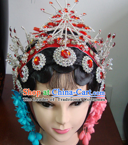 Chinese Stage Theatrical Performances Pan Fu Suo Fu Hua Dan Black Long Wigs and Hair Pieces Set