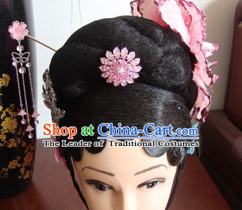 Chinese Opera Stage Theatrical Performances Li Yugang Black Long Wigs and Head Pieces Hair Jewelry Set