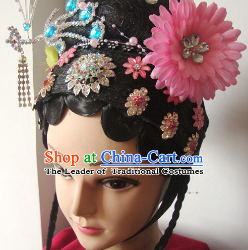 Ancient Chinese Opera Huadan Hair Pieces and Black Wig