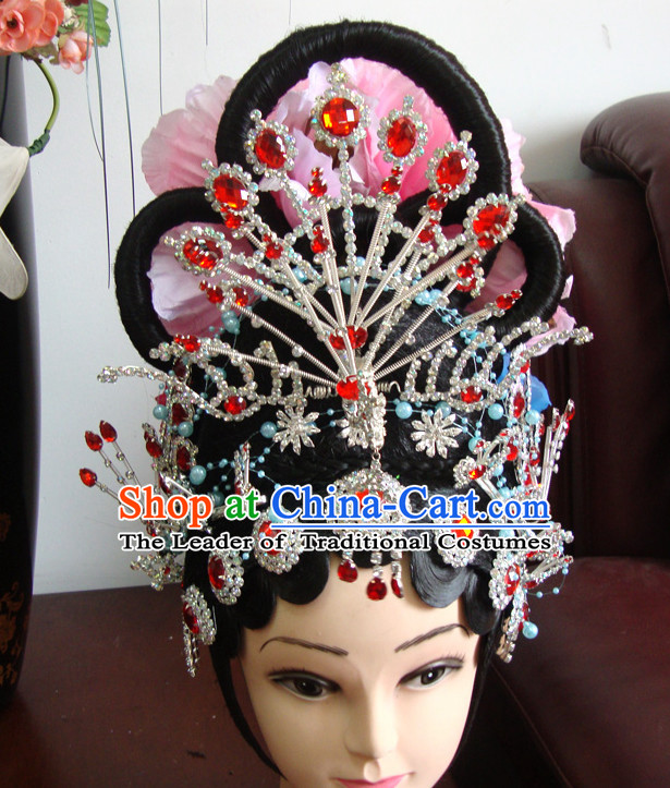 Ancient Chinese Stage Hua Dan Black Long Wigs and Hair Accessories