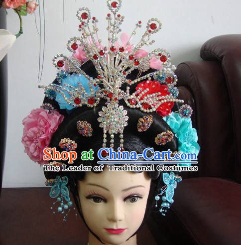 China Guang Dong Opera Hua Tan Hairstyles Long Black Wigs  Fascinators Fascinator Wholesale Jewelry Hair Pieces