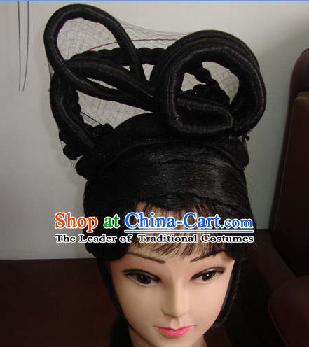China Beijing Opera Hua Tan Hairstyles Long Black Wigs