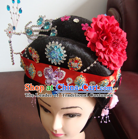 China Beijing Opera Hua Tan Hairstyles Long Black Wigs Fascinators Fascinator Wholesale Jewelry Hair Pieces