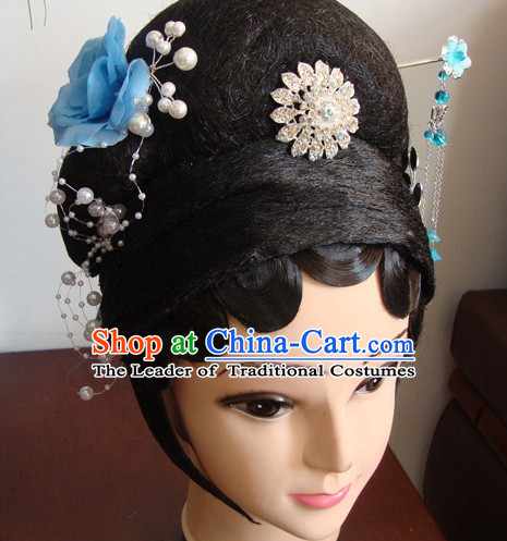 Chinese Professional Stage Theatrical Performances Dou Er Long Wigs and Hair Jewelry Set