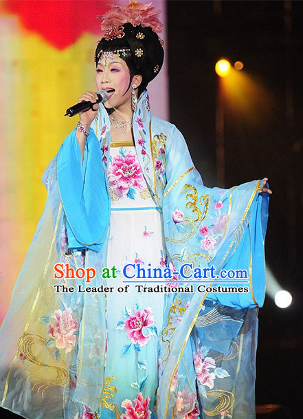 Chinese Ancient Empress Costumes Dresses online Designer Halloween Costume Wedding Gowns Dance Costumes Cosplay and Hair Jewelry Complete Set