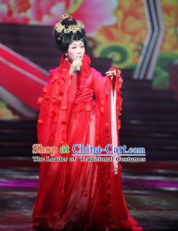 Chinese Ancient Empress Red Wedding Dresses online Designer Halloween Costume Wedding Gowns Dance Costumes Cosplay and Hair Jewelry Complete Set
