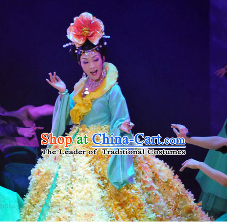 Chinese Ancient Flower Empress Costumes online Designer Halloween Costume Wedding Gowns Dance Costumes Cosplay