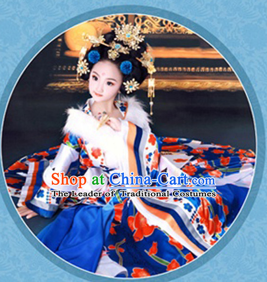 Chinese Princess Costumes and Hair Jewelry Complete Set for Children