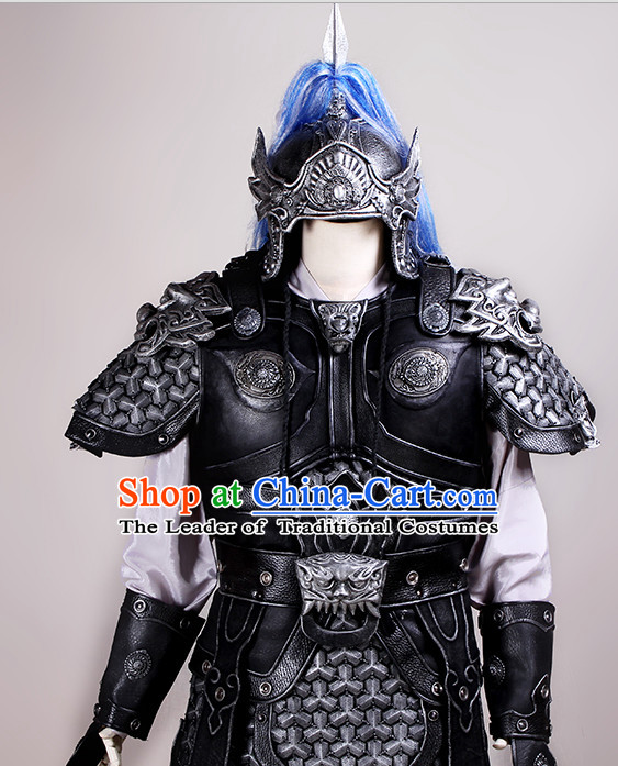 Chinese Ancient Style Knights Armor Costumes Samural Helmet Outfits Complete Set