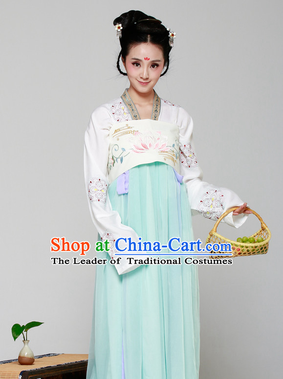 Chinese Ancient Xi Shi Halloween Costumes and Hair Jewelry for Women