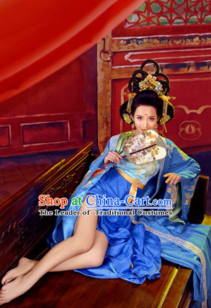 Asian Chinese Ancient Empress Halloween Costume Cosplay Costumes and Hair Accessories Complete Set