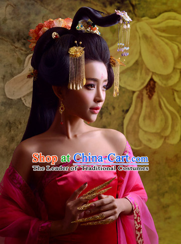 Chinese Ancient Beauty Black Wigs and Hair Jewelry