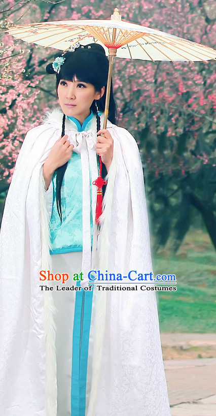 Asian Chinese Lady Clothing and Headpieces Halloween Costume Complete Set