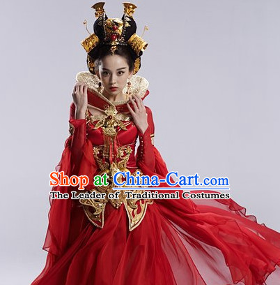 Purple Asia Chinese Princess Halloween Costume Cosplay Costumes and Hair Accessories Complete Set