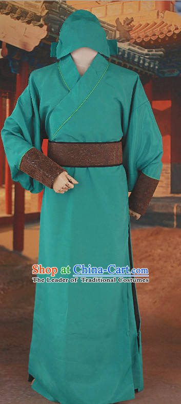 Asia Chinese Guan Gong Gwong Gong Halloween Costume Cosplay Costumes and Hat Complete Set