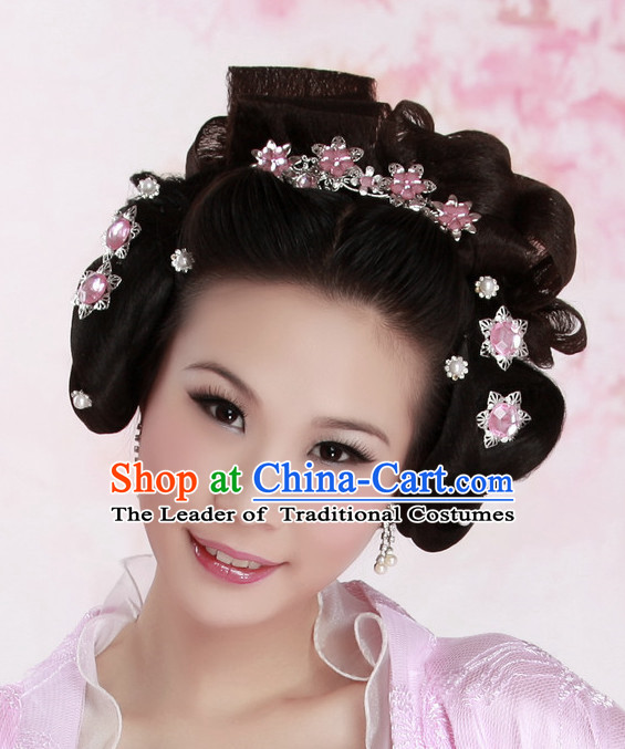 Chinese Ancient Fairy Black Wigs and Hair Accessories