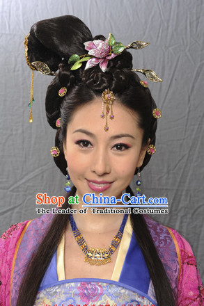 Chinese Ancient Fairy Black Wigs Hairstyles and Hair Decorations