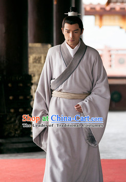 Chinese Han Clothing Robe and Hair Jewelry for Men