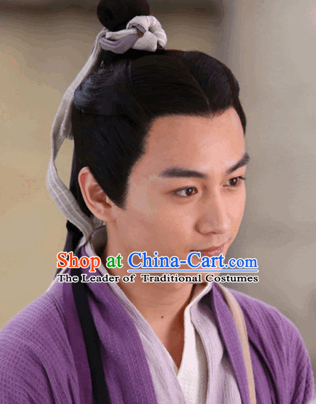 Ancient Chinese Male Black Wigs and Bands