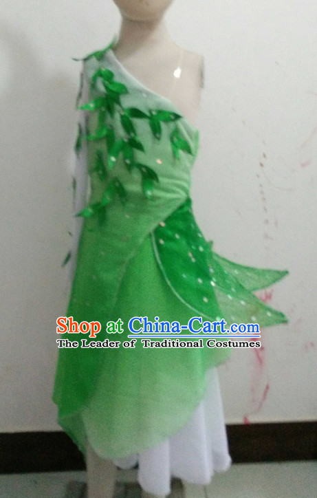 Chinese Folk Green Dance Costume Complete Set for Girls or Women