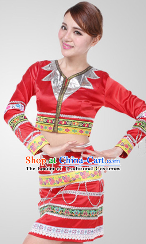 Chinese Modern Dai Dance Costume Wholesale Clothing Discount Dance Costumes Dancewear Supply and Hat for Girls